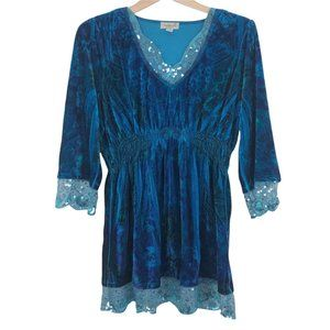 One World Long Sleeve Tunic Top V-Neck Velveteen Lace Sequins Womens L Teal Blue